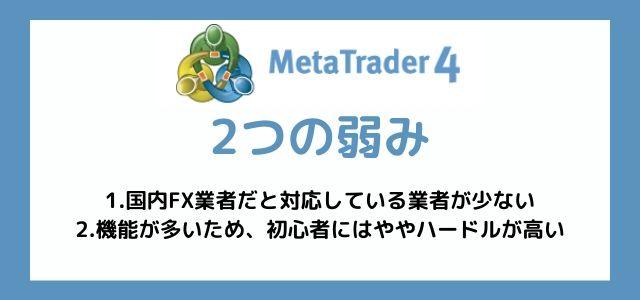 MT4 特徴 弱み