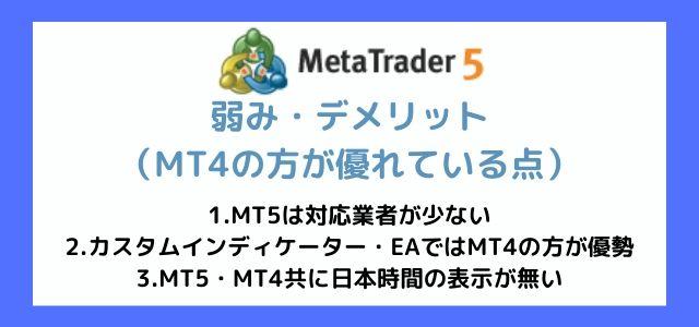 MT5 弱み デメリット MT4の方が勝っている点